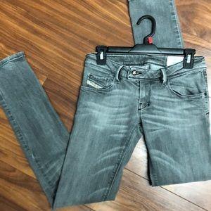 Diesel grey skinny jeans size 25. X 32